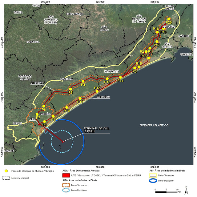 Área de impacto do Projeto Atlântico Energias (Fonte: RIMA)